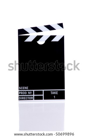Movie clapper (isolated on white) - stock photo