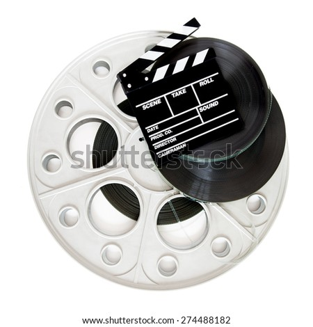 Movie clapper on 35 mm cinema film reels isolated on white background square frame - stock photo