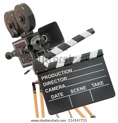 Movie composition. Vintage camera and clapperboard.