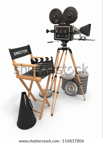 Movie composition. Vintage camera, director chair and reels. 3d - stock photo