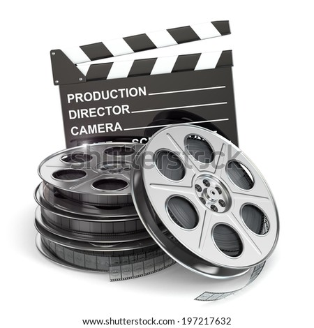Movie concept. Film reels and clapboard. 3d - stock photo