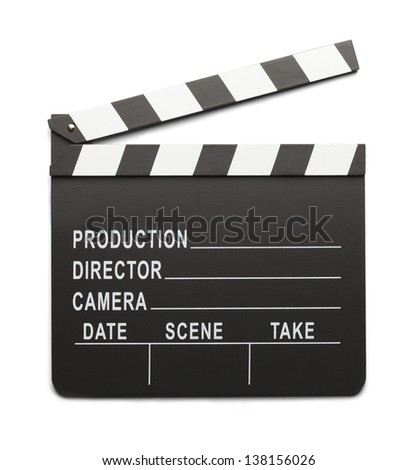 Movie Directors Clap Board Isolated On White Background. - stock photo