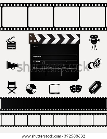 Movie, film, cinema, hollywood classic icon set. - stock photo