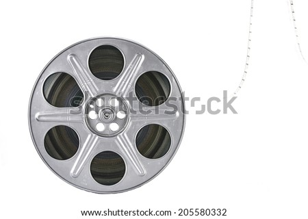 Movie film reel on white background - stock photo