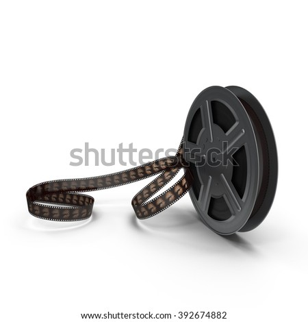 Movie  film reel on white background - stock photo