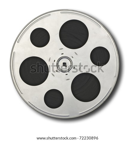 Movie film spool; isolated on white ground - stock photo