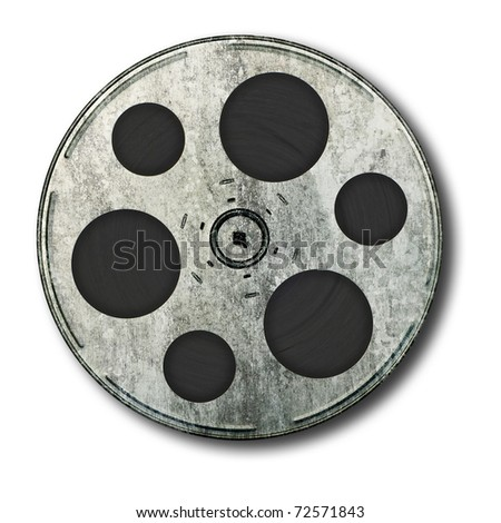 Movie film spool; very old and well-used; isolated on white ground - stock photo