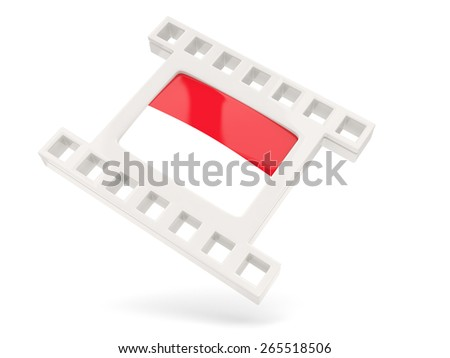Movie icon with flag of indonesia isolated on white