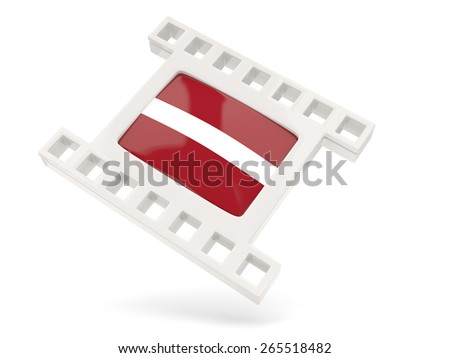 Movie icon with flag of latvia isolated on white