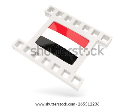 Movie icon with flag of yemen isolated on white