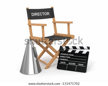 Movie industry. Producer chair, ���±lapperboard and bullhornl. 3d - stock photo