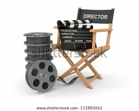 Movie industry. Producer chair, ���±lapperboard and film reel. 3d - stock photo