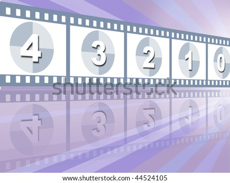 Movie items on landscape ,illustration background - stock photo