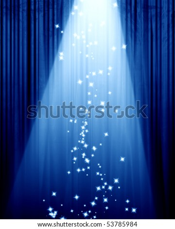 Movie or theater curtain on a blue background