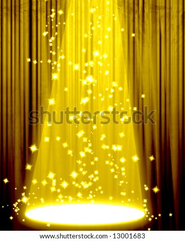 Movie or theater curtain with a center spotlight - stock photo