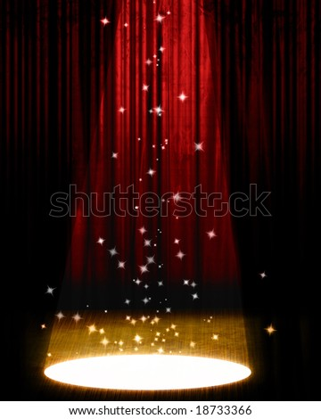Movie or theater curtain with bright spotlight - stock photo