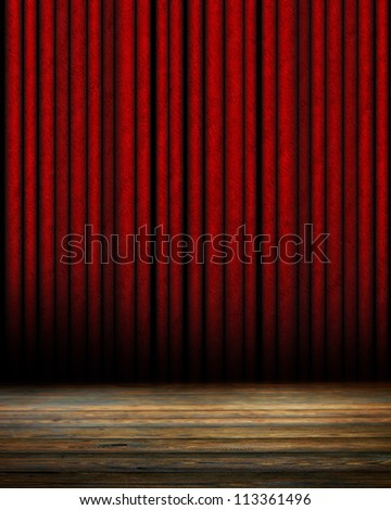 Movie or theater curtain with soft shades - stock photo