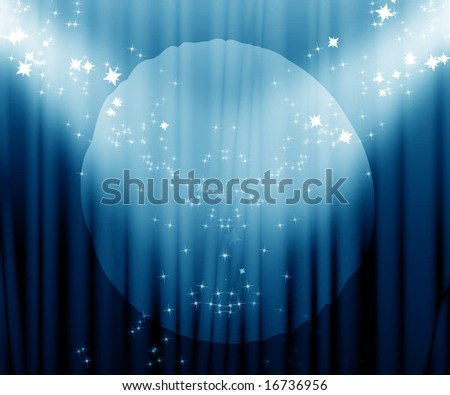 Movie or theatre curtain with a bright spotlight - stock photo