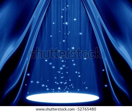 movie or theatre curtain with a spotlight - stock photo