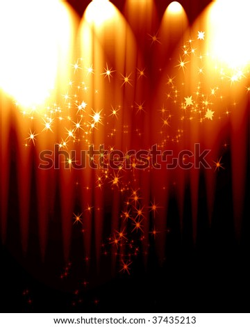 Movie or theatre curtain with some glitters - stock photo
