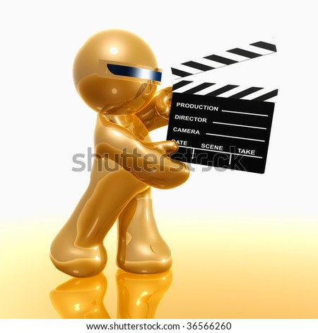 Movie scene clapper 3d chrome gold icon - stock photo