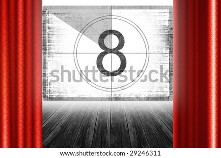 movie screen with countdown - stock photo