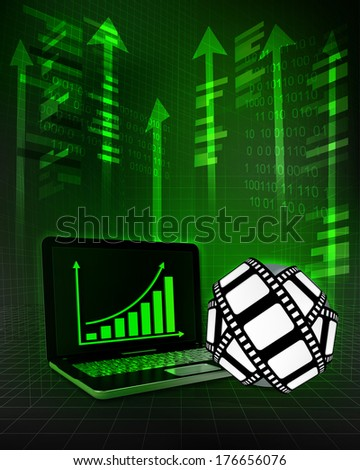 movie tape with positive online results in business illustration - stock photo