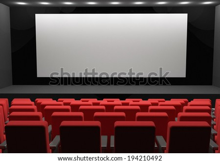 movie theater concept with blank scene - stock photo