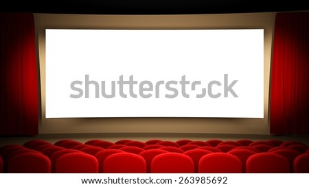 Movie Theater. 3D. Cinema stage - stock photo