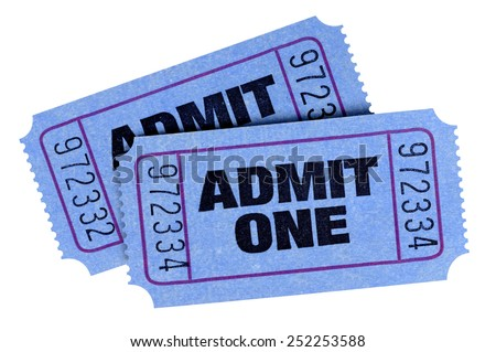 movie ticket two blue admit one stock photo 252253588 shutterstock. Black Bedroom Furniture Sets. Home Design Ideas