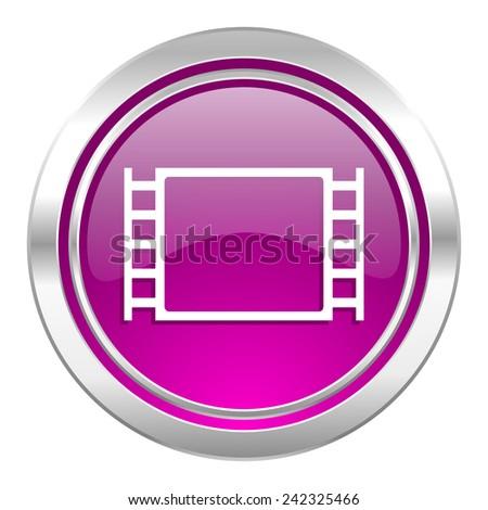 movie violet icon   - stock photo