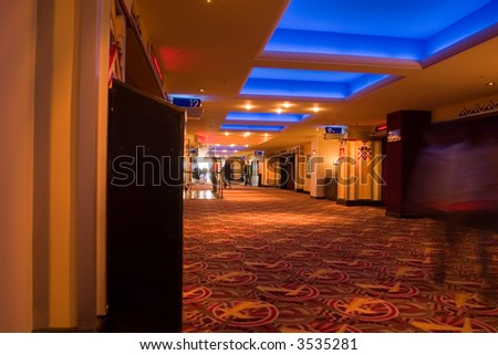 Movies theater hallway, more than 15 auditoriums