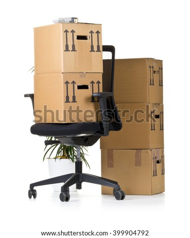 Movign boxes on  office chair over white background - office moving or relocation concept - stock photo