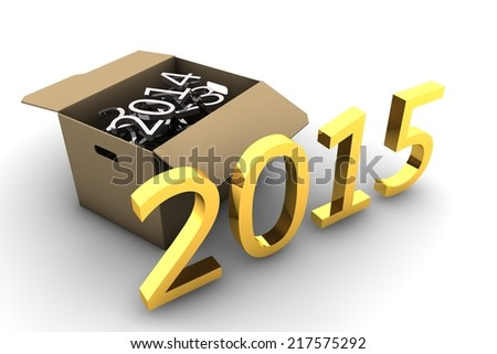 Moving box, cleaning the old years, grabbing the new year - stock photo