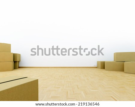 Moving Boxes and real Estate - stock photo