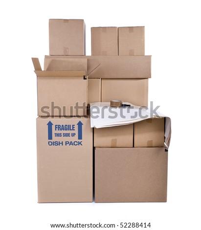 Moving boxes isolated on white background - stock photo