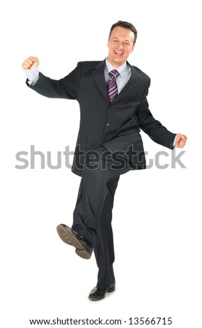 moving businessman in black suit