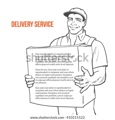 Moving Companies. Shipping. Happy loader stands with box. illustration. Move house service. Transportation of things Delivery of goods. Box. Carrier with a box isolated. Transportation package deliver - stock photo