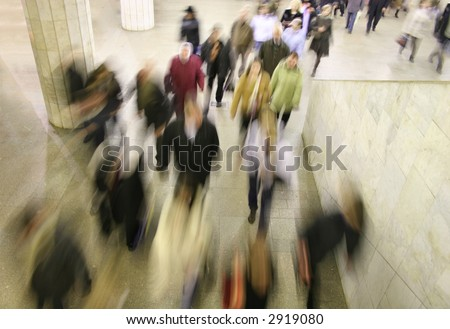 moving crowd - stock photo