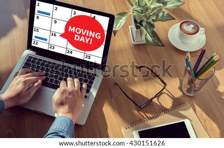 MOVING DAY! man hand on table Business, coffee, Split tone - stock photo