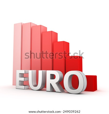 Moving down red bar graph of Euro on white. Recession and crisis concept. - stock photo