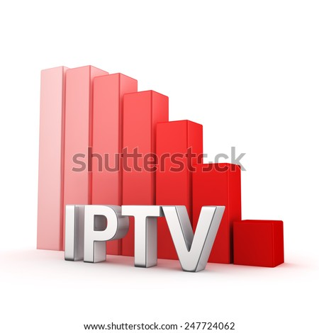 Moving down red bar graph of IPTV on white. Recession and crisis concept. - stock photo