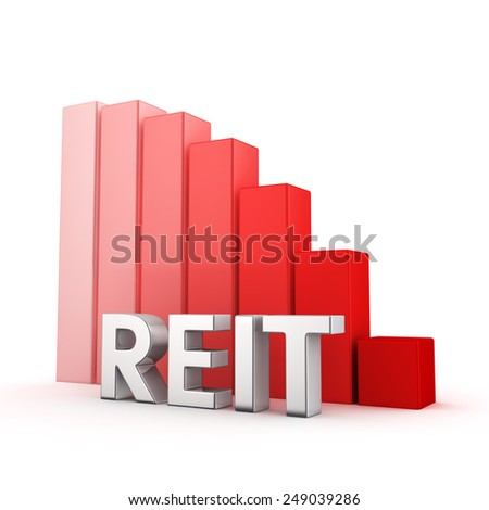 Moving down red bar graph of REIT on white. Recession and crisis concept. - stock photo