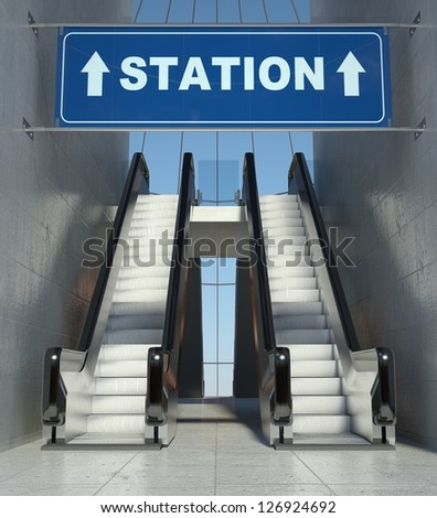 Moving escalator stairs in modern building, station sign - stock photo