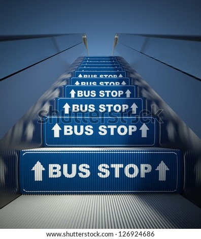 Moving escalator stairs to bus stop, conception - stock photo