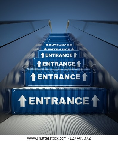 Moving escalator stairs to entrance, conception - stock photo