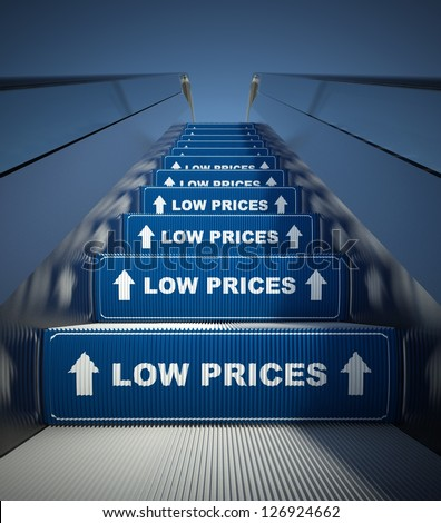 Moving escalator stairs to low prices, conception - stock photo