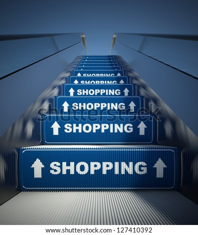 Moving escalator stairs to shopping, conception - stock photo