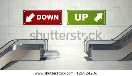 Moving escalator stairs, up and down sign - stock photo