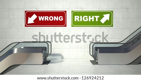 Moving escalators stairs, right wrong sign - stock photo